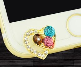 Wholesale Anti Dust Earphone Heart - Luxury Colorful Diamond Heart Shape Front Anti Dust Plug Diamond ustproof Plug For For iPhone5,5C,6,6S Mobile Phone Accessories