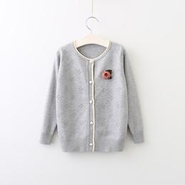 Wholesale Dots Sweater Girls - 2017 Baby Girls Knit Dots Sweaters Kids Girl Fashion Knitting Cardigan Babies Autumn Button Outwear childrens clothing
