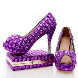 Wholesale Matching Shoe Bag Purple - Purple Rhinestone Bridal Wedding Shoes with Clutch Bag Peep Toe Crystal Party Pumps Graduation Party Heels with Matching Bag