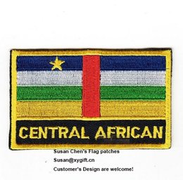 Wholesale Embroidery For African Clothes - Central African Flag Patches Iron on patches, logo embroidery patches, embroidery patches for clothing, Free Shipping