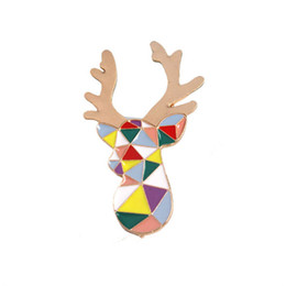 Wholesale Chromatic Fashion - Wholesale- Fashion and lovely Enamel drip chromatic geometry deer antlers The girl a brooch Animal series corsage badges Pin wholesale