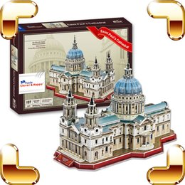 Wholesale England Paper - New Year Gift England Saint Paul's Cathedral Church 3D Puzzle Building Construction Paper Board Model Toy DIY Collection
