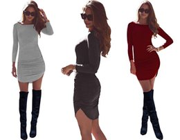 Wholesale Tight Stretch Dresses - Hot Tight Pack Hip Dresses Rounded Arc Long-Sleeved Women's Dress Runway Dresses Slim Stretch Skirt ST977