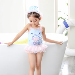 Wholesale 7t Bodysuit Kids - kids swimwear 2017 new arrival one-piece girl swimsuit beach wear cute little girl summer bodysuit baby clothes blue