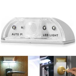 Wholesale Motion Detectors Lights - Wholesale- Auto PIR IR Motion Sensor Heat Detector Door Keyhole lock 4LED Light Lamp