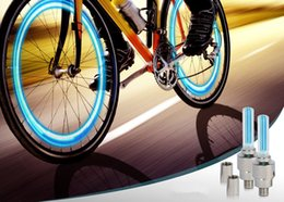Wholesale Novelty Led Lights Car - 20pcs Bicycle Gas Nozzle Light LED Flash Tyre Bike Wheel Valve Cap Light Neon With Battery Novelty Light For Car Bike Motorcycle