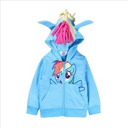 Wholesale Kids Jackets Gray - My little pony girls children zipper hooded Outwear Coats Girls Hoodies Sweatshirts kids Baby long sleeve hoody Jackets clothing