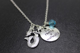 "Wholesale Mermaid Pendants Charms - 12pcs lot personalize Necklace ""I'm Really A Mermaid""crystal necklace antique silver Mermaid charm Pendant Necklaces"