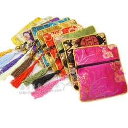 Wholesale Small Silk Jewelry Bags - Cheap Tassel Small Zipper Bag Coin Purse Travel Jewelry Bracelet Bangle Storage Pouch Chinese Silk brocade Cloth Packaging Pocket 10pcs lot