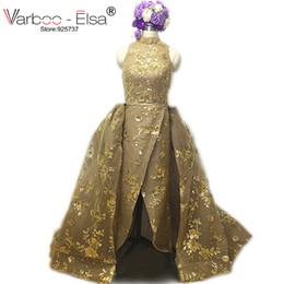 Wholesale Modal Photos - VARBOO_ELSA Real Photo gold Luxury Sequined Lace Evening Dresses Halter Hand Pleated Custom Made Vestido De Festa 2017 from Yousef Aljasmi