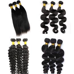 Wholesale Remy Hair Wefts - Mink Virgin Brazilian Hair Bundles Human Hair Weaves Wefts 8-34Inch Unprocessed Peruvian Indian Mongolian Virgin Remy Bulk Hair Extensions