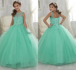Wholesale Mint Dresses For Prom - 2016 Sparkly Mint Green Beaded Crystal Girls Pageant Dresses for Teens Princess Tulle Floor Length Kids Prom Party Gowns