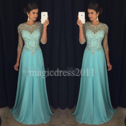 Wholesale Evening Gowns Cap Sleeves - Chic Blue Prom Evening Dresses 2017 A-Line Sheer Neck Rhinestones Major Beaded 3 4Long Sleeves Chiffon Formal Party Gowns Celebrity Dress