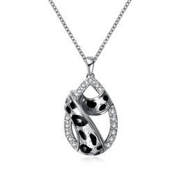 Wholesale Premier Necklaces - US and Europe platinum chain alloy material white diamon leopard print oil drip ladies premier designs necklace