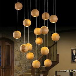 Wholesale Light Balls Stairs - Modern LED Wood Chandelier Creative Wooden Ball Pendant Lamp Wood Pendant Light Meteoric Shower Stair Light Restaurant Chandelier Light