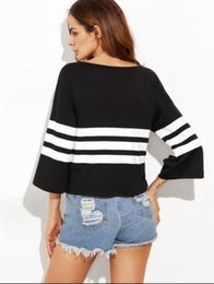 Wholesale Striped Shirt Lady - hot new fahion street style black color with white striped round collar long t-shirt for young ladies