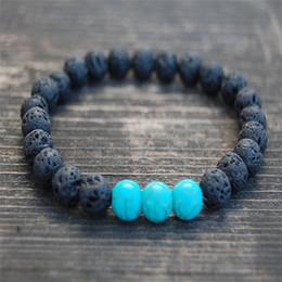 Wholesale Fine Strand - 8MM Lava-rock Bead Bracelet Men Women Fashion Natural Stone Turquoise Charm Aromatherapy Essential Oil Diffuser Bracelets Fine Jewelry A442