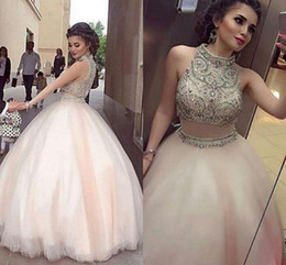 Wholesale Dress Lace Ribbon Piece - Light Pink Ball Gown Quinceanera Dresses High Neck Crystal Beaded Tulle Floor Length Two Piece Prom Dresses Arabic Dubai Formal Evening Gown