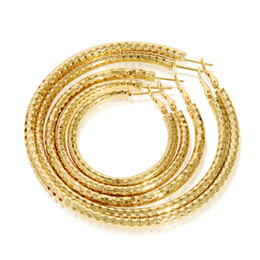 Wholesale Large Gold Earrings Hoops - mixed order 5 diameters 4,5,6,7,8cm small big large hoops fashion jewelry 18k yellow gold plated hoop earrings for women #017Y