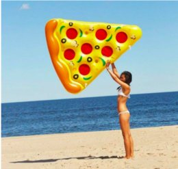 Wholesale Mattress Giant - Air Mattress Swimming Pool Water Toy Giant Yellow Inflatable Pizza Slice Floating Bed Raft Swimming Ring
