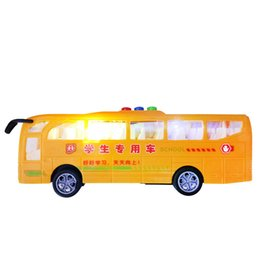Wholesale Electric Car Ride - 2017 Kingdom Death Tamiya Music Bus Car Toy Cool Electric Flash Luxury Us School Light Model Ride On Vehicle Models Cars Gift