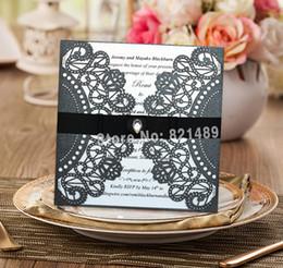 Wholesale Lace Wedding Invitations Sets - Wholesale-Black Wedding Invitation With Envelopes and Seals; Delicate Black Lace Wedding Invitation with Diamond - Set of 50
