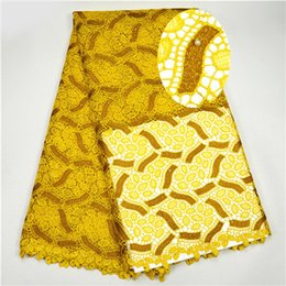 Wholesale Swiss Embroidery Lace Fabric - Yellow Color Embroidery African Cord Laces Swiss Guipure Lace Fabric with Beaded For Nigerian Wedding Dresses