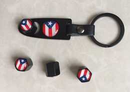Wholesale Bmw Valve Stem Caps - 1Set Puerto Rico Flag Leather Buckle keychain& Tire Valve caps Wheel Tyre Valve Stem Air Cap Cover caps air dust cap Fit for BMW Audi
