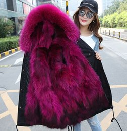 Wholesale Mans Fur Hood - Luxury Women Men Real Fur Coat Winter Parkas Long Jacket Raccoon Fur Hood Super Warm Outwear Overcoat DHL Free Shipping Fashion