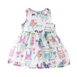 Wholesale Girls Beaded Tutu Dress - 2017 Korean girl summer dress girl full cartoon bird print chiffon dress sleeveless kids tutu dress