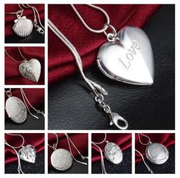 medalha de prata quadrada Desconto Misture 15 estilos 15 pcs chapeamento 925 banhado a prata coração e cruz amor circular coração Ellipse pingente quadrado colar foto Medalhão