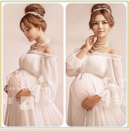 Wholesale Pregnancy Props - 2017 Royal Style White Maternity Lace Dress Pregnant Photography Props Pregnancy maternity photo shoot long dress Nightdress One Size
