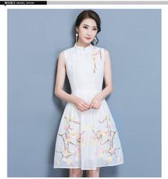 Wholesale Sexy Women White Cheongsam Dress - 2017 spring and summer new European and American women fashion elegant embroidery sleeveless retro cheongsam dress
