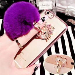 Wholesale Bow Phone Cases - Luxury Bling Bow Fur Ball Clear Electroplating Phone Cases Soft TPU Cover For iPhone 5S 6S 7 Plus Samsung S8 S5 S6 S7 S7 Edge J5 J7 A5 A3