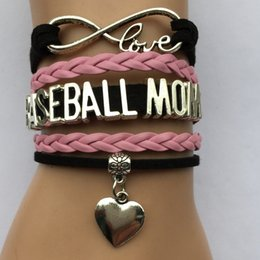 Wholesale Wholesale Baseball Mom - Wholesale-Drop Shipping Infinity Love Baseball Mom Bracelet- Sports Leather Braided Team Gift