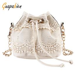 Wholesale Chain Closures - Wholesale- Guapabien Women Bucket Shoulder Bag Lace String Closure Chain Bag for Ladies Black Solid Color Female Handbag Messenger Bags