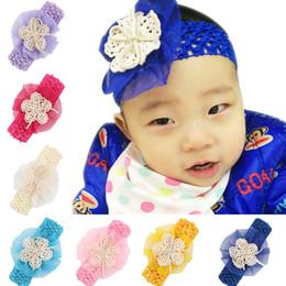 Wholesale Tulle Crochet Headbands - 10pcs Girl Tulle Mesh Lace Flower Headband Baby Crochet Stretchy Weave Headwear Kids 12 Colors Hair Accessories