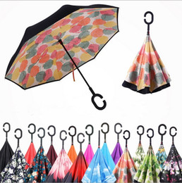 Wholesale protection for car - 52colors Windproof Reverse Folding Double Layer Inverted Chuva Umbrella Self Stand Inside Out Rain Protection C-Hook Hands For Car