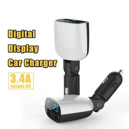 Wholesale Lg Monitors - LED Car Charger 5V 3.4A Dual USB Ports LED Screen Voltage Monitoring Display for iPhone 7 Plus Samsung with Package