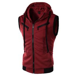 Wholesale Waistcoat For Men Styles - Wholesale- EAS Spring Autumn UK style Zipper design hooded Vest men wine casual slim fit hooded Waistcoat for men M-XXL 3 Colors