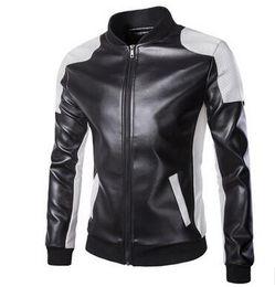 Wholesale Men White Leather Motorcycle Jacket - New Men's clothing Plus size Men Leather Jacket Male Bomber Motorcycle Biker Man Coat