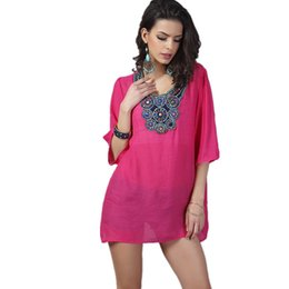 Wholesale Top Clothing Wholesaler China - Wholesale-2016 T-Shirt Women Embroidery European Style Body Top Tee Spring XXXL Big Size Cheap Clothes China Office Casual Female T Shirt