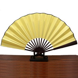 Wholesale Chinese Fabric Fans For Dances - Chinese Traditional Blank Fabric Cloth Handheld Folding Fan For Pratice Performance Dancing Ball Parties Unisex - (3 Colors Select) Two Size