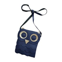 Wholesale Childrens Bag Cute - Cute Kids Gift Dark Blue Owl Cotton Bags Pouch Girls Small Coin Change Purse Wallet Childrens Wallet Money Holder LXX9
