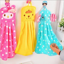Wholesale Embroidery Hand Towel - Free shipping modelling of the square cartoon flannel wipe Hand towel Thickening Embroidery Absorbent Cloth Hanging Hand Towels