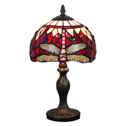Lámpara de mesa roja online-Vidrieras rojas o azules de estilo Tiffany Libélula roja Lámpara de mesa Iluminación Lámpara de acento de cabecera Jeweled
