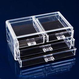 Wholesale Clear Acrylic Drawers - 3 layer Drawer type Acrylic makeup storage Display box Cosmetics Storage organizers Jewelry Accessory case casket F20172014