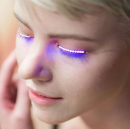 Wholesale Led Gadget Halloween - New F.Lashes LED Eyelashes Fashion Glowing Eyelashes LED Gadget Waterproof for Dance Concert Christmas Halloween Nightclub Party Free DHL