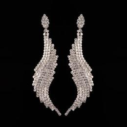Wholesale 14k Gold Blue - European Popular Women Brand Earings 2017 Minlover Silver&Blue Colors Austrian Crystal Drop Long Earrings for Women Rhinestone