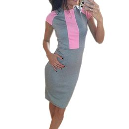 Wholesale Sexy Tight Dress Women Pink - New Sexy Summer Dress Women Pink Gray Color Block Tight Fitted Dresses 2017 Ladies Sexy Bandage Zipper Back Dress